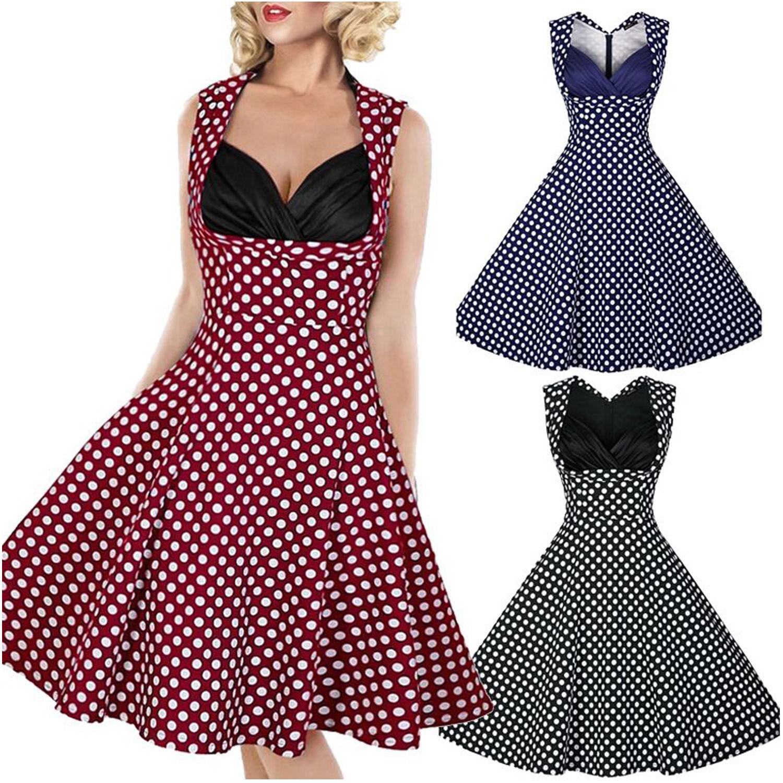 50s Women Summer Vintage V Neck Polka Dot Casual Party Dress
