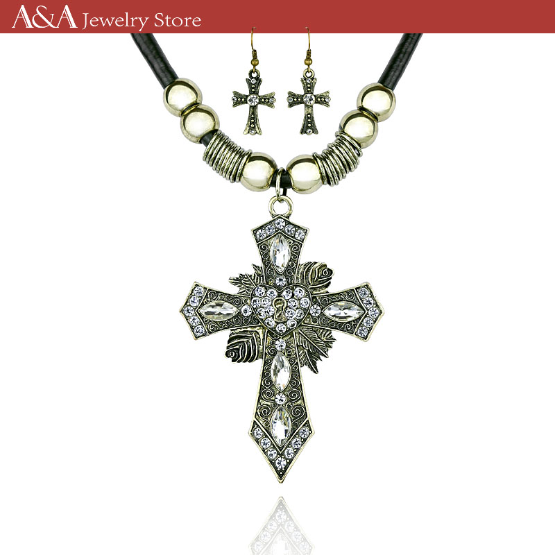 Cross Necklace Blackish Green Pendants Necklaces For Women Crystal Vintage Long Necklaces Brand A&A Jewelry(China (Mainland))