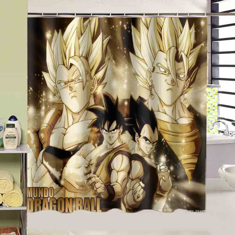dragon ball z print bath curtain Decors Squre 180x180 CM high quality waterproof shower curtain On Sale(China (Mainland))