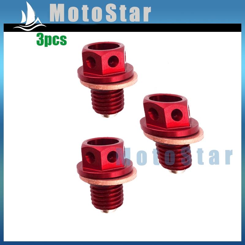3x Oil Magnetic Drain Bolt Plug For Engine Lifan YX Zongshen Loncin Pit Dirt Bike 50cc 90 110cc 125cc 140cc 150cc 160cc(China (Mainland))