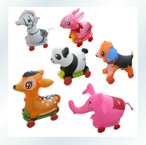 Free shipping (20PCS/lot) wholesale inflatable toys zoo animal toys with feet rope pulling drag inflatable animals<br><br>Aliexpress