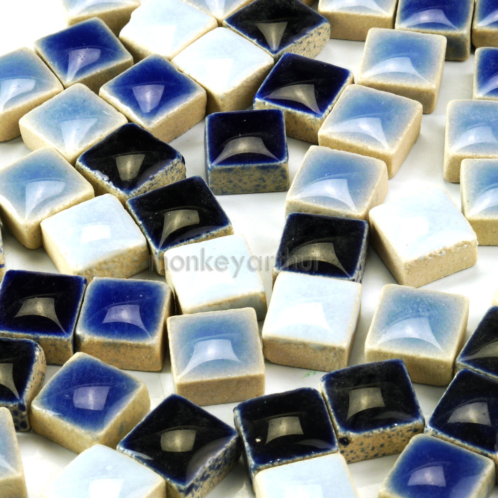 "200+ PCS Micro Mosaic Tiles The Classic Blue Line Ceramic Mixture 3/8"" 10mm 4 Blue Mix(China (Mainland))"