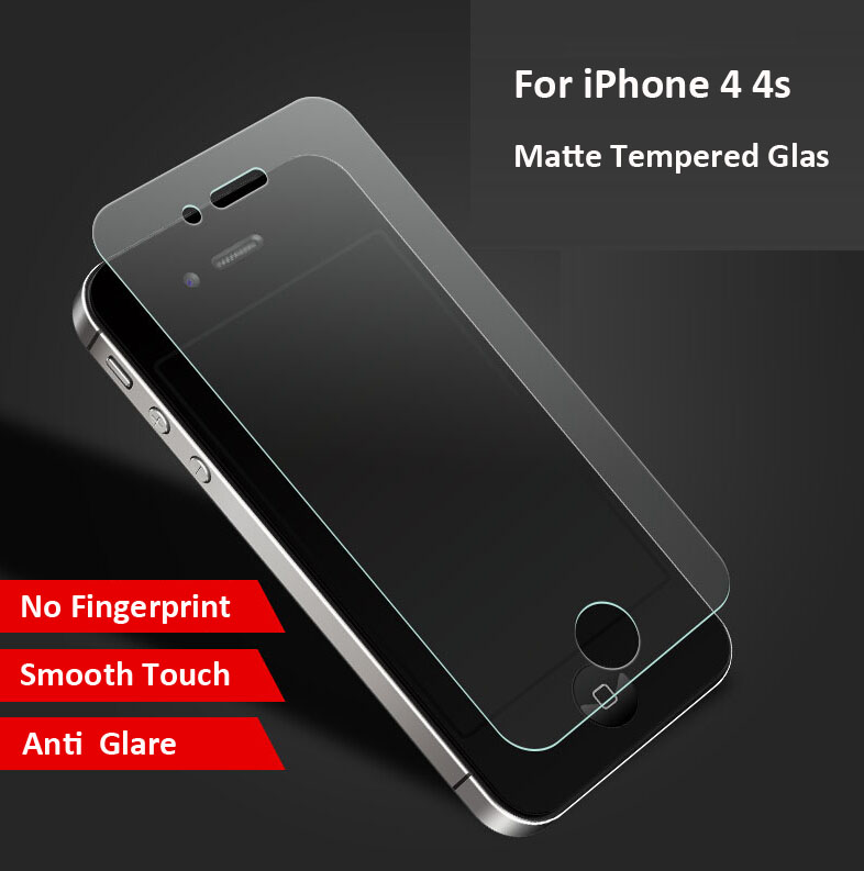 No Fingerprint Premium Tempered Glass Screen Protector For iphone 4s Frosted Glass Protective Film For iPhone 4 4s matte glass(China (Mainland))