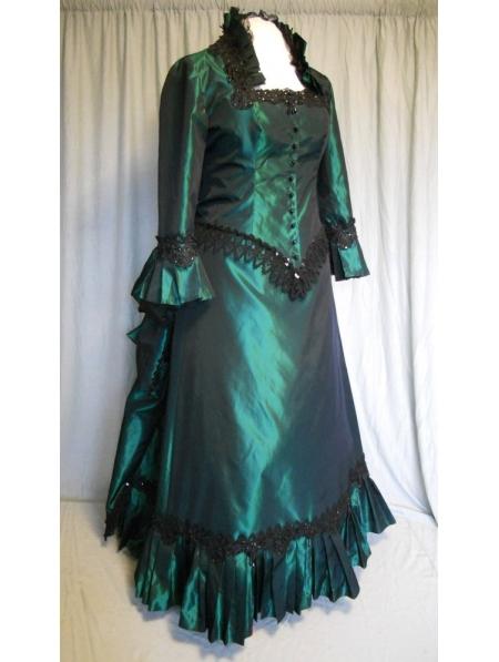 Dark Blue Satin Victorian Bustle Ball Gown Victorian Dress Day Dress Costume Victorian Dress(China (Mainland))