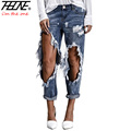 THHONE Brand Ripped Jeans Women Street Denim Pants Big Holes Torn Casual Trousers Vintage Pencil Pants