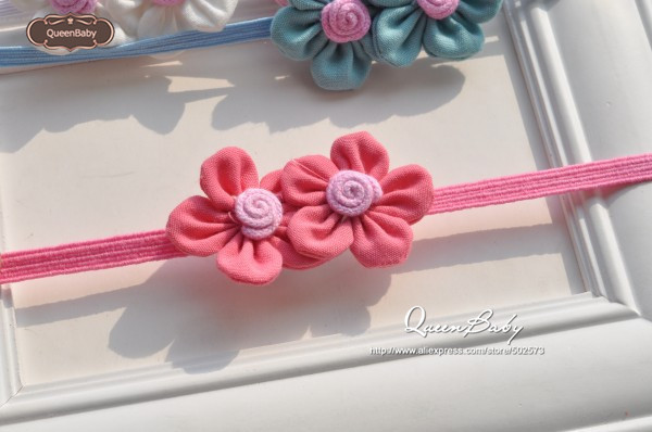 Double Petite Fabric Flower Baby Headband Colorful Little Headbands for Tiny Babies 40pcs/lot QueenBaby(China (Mainland))