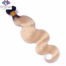 Best Quality Malaysian Virgin Hair Single Bundle Platinum Blonde Human Weaves Two Tone Color 1B/613 Body Wave Bundles - Sinder Products Factory store