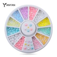 Conjunto de 1 Tamanhos Mix Colorido 3d Half Round Pérola Nail Art Decoração Roda DIY Acessórios de Beleza do Prego