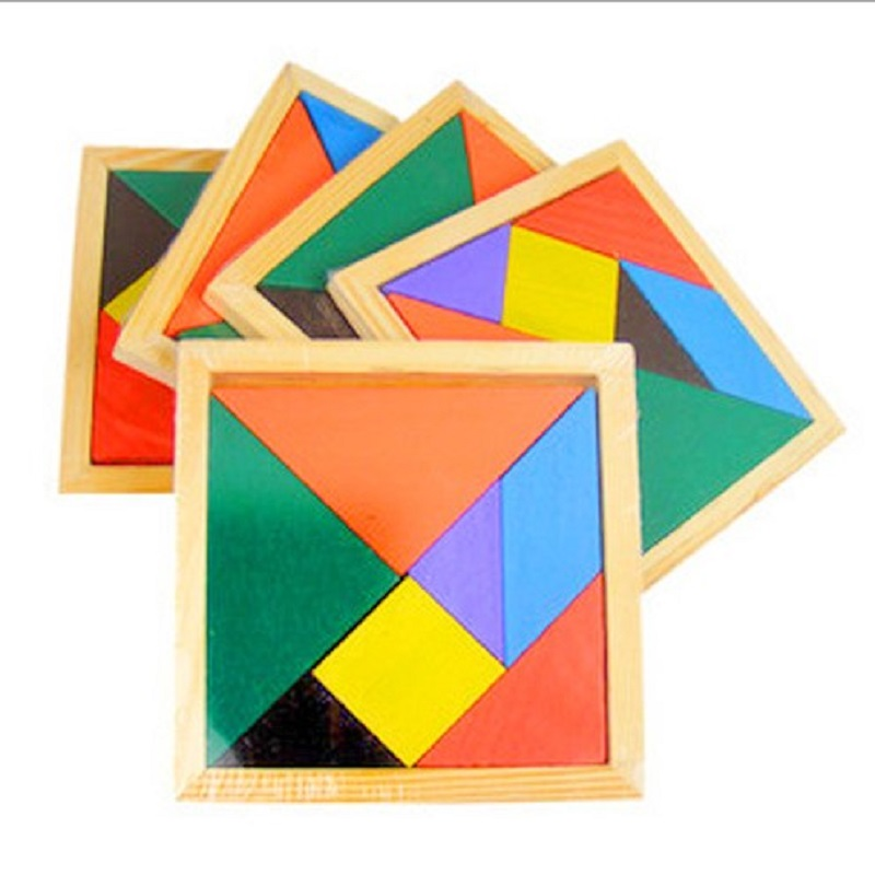New Hot Sale Children Mental Development Tangram Wooden Jigsaw Puzzle Educational Toys for Kids(China (Mainland))