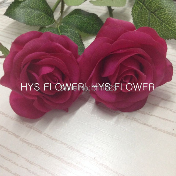 Free Shipping Lifelike Real Touch Rose Artificial Flower Hot Pink Rose Decorative Flowers for Weddings(China (Mainland))