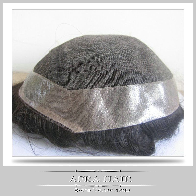 Mens Toupee Hair Pieces Mono Lace Undetectable Full Lace Thin Skin Toupee(China (Mainland))