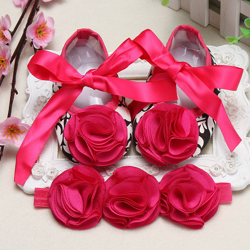 Ivory Flower Girl Shoe Toddler Headband,Infant Christening Baby shoes branded,Newborn Baby Girl Baptismal Set(China (Mainland))