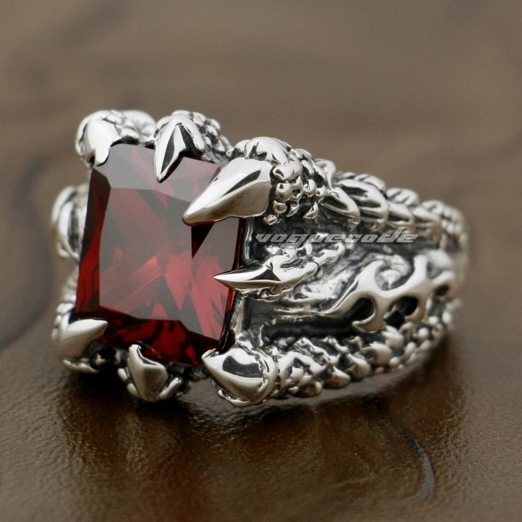 Huge Red Dragon Claw 925 Sterling Silver Mens Biker Rocker Ring 8T002 - LINSION Official Store store