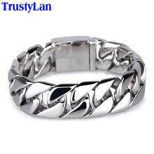 Buy TrustyLan 22CM Long 20MM Wide Frosted Bracelet Men Cool Stainless Steel Link Chain Mens Bracelets Jewelry Accessory Wristband for $17.91 in AliExpress store