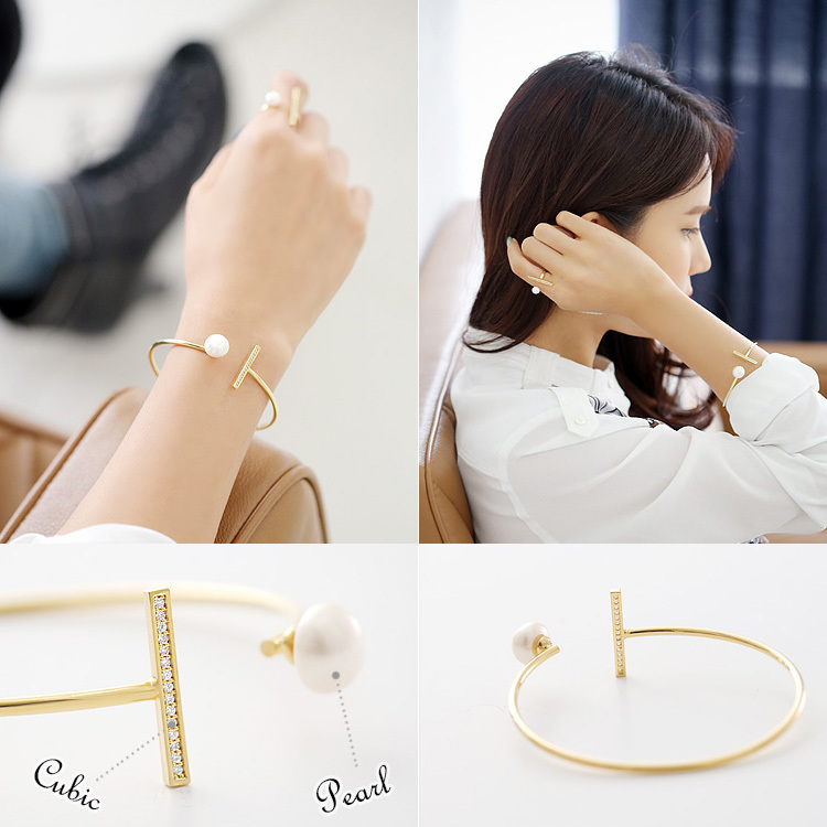 Simple Pearl Lover T Bangles Brand 2015 New Luxury Jewelry Special Pearl Bangles for Beauty Gifts for Women HG2004(China (Mainland))
