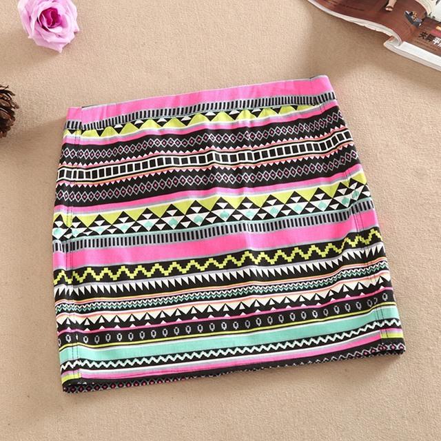 2015 горячая распродажа мода женщин юбки сексуальные мини-юбка-карандаш чешские геометрический узор короткие Saia Feminina красный лето женщины юп