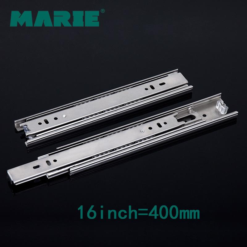 MARIE HARDWARE 16 inch furniture cabinet ball bearing drawer slides, 304 stainless steel(China (Mainland))