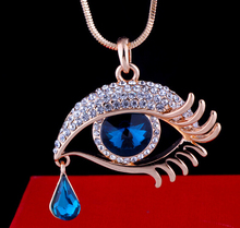 new arrival 18k rose gold plated crystal long necklace sweater necklace blue eye font b accessories