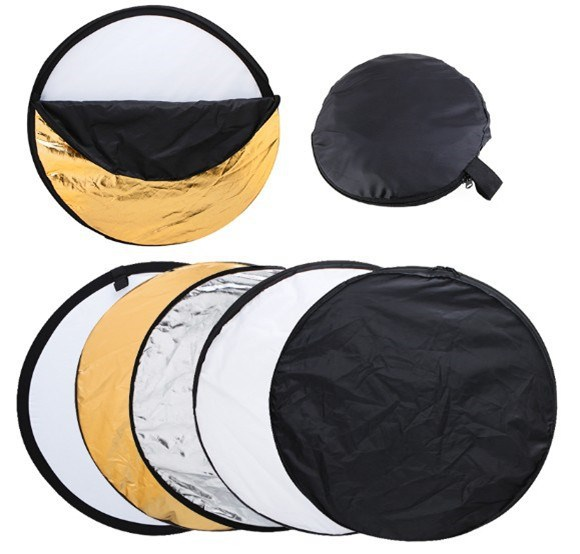 """24"""" 60cm 5in1 Collapsible Portable Light Diffuser Round Photo Studio Reflector DISC Multi Color Studio Photography Reflector(China (Mainland))"""