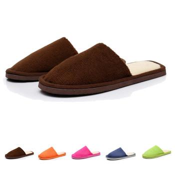 Casual Man Men's Indoor Slipper Fashion Male Men Solid Plush Velvet Cotton Home House Floor Warm Foot Slippers Non-Slip Shoes