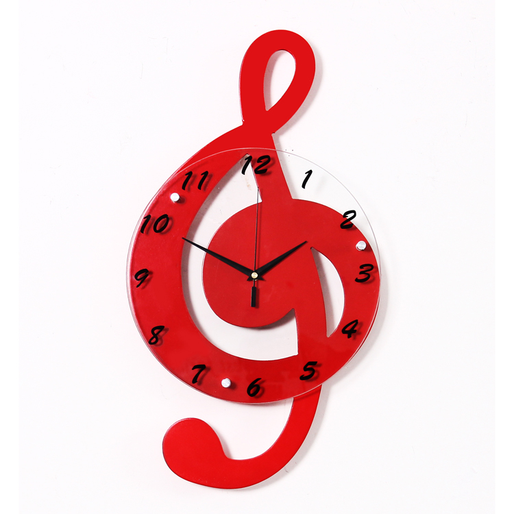Wall Clock Modern Design Of Red Musical Note Wooden Wall Clocks For Home Living Room Decoration JT1008(China (Mainland))