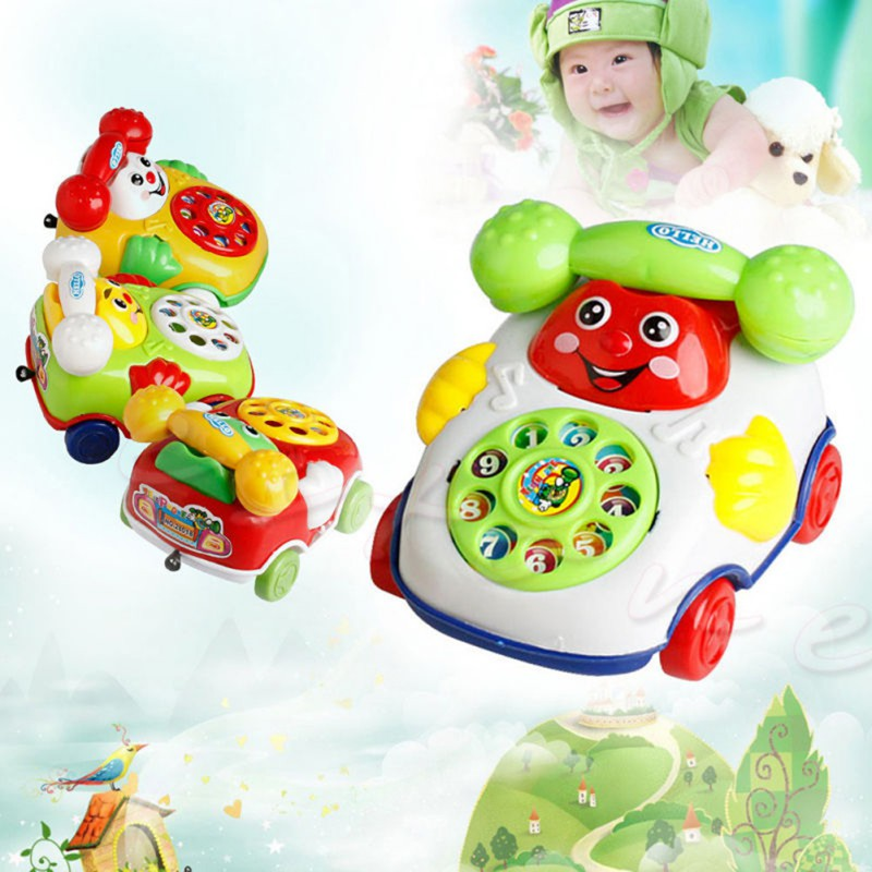 2017 New Style Electric Phone Model Machine Children Educational Toys Music Cartoon Phone Funny Toy Random Color(China (Mainland))