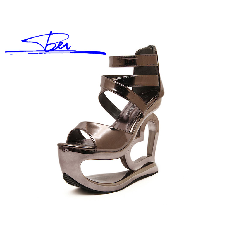 shoes woman sandals eurpean sexy platform strange style zip cover heel high-heel sandals shoes heart heel night club sandals(China (Mainland))