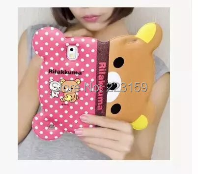 3D Rilakkuma Bear Leather Case Flip For Samsung Galaxy Note 4 IV N910 5.7'' Wallet Case with Stand Card Holder Free shipping(China (Mainland))