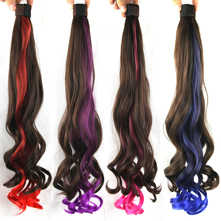 Ponytai2016 New Long Hair Mixed Ponytails Wavy Fake Hairpiece Tail Horsetail Clip in Hair extension Fashion Women 55cm  jf033<br><br>Aliexpress