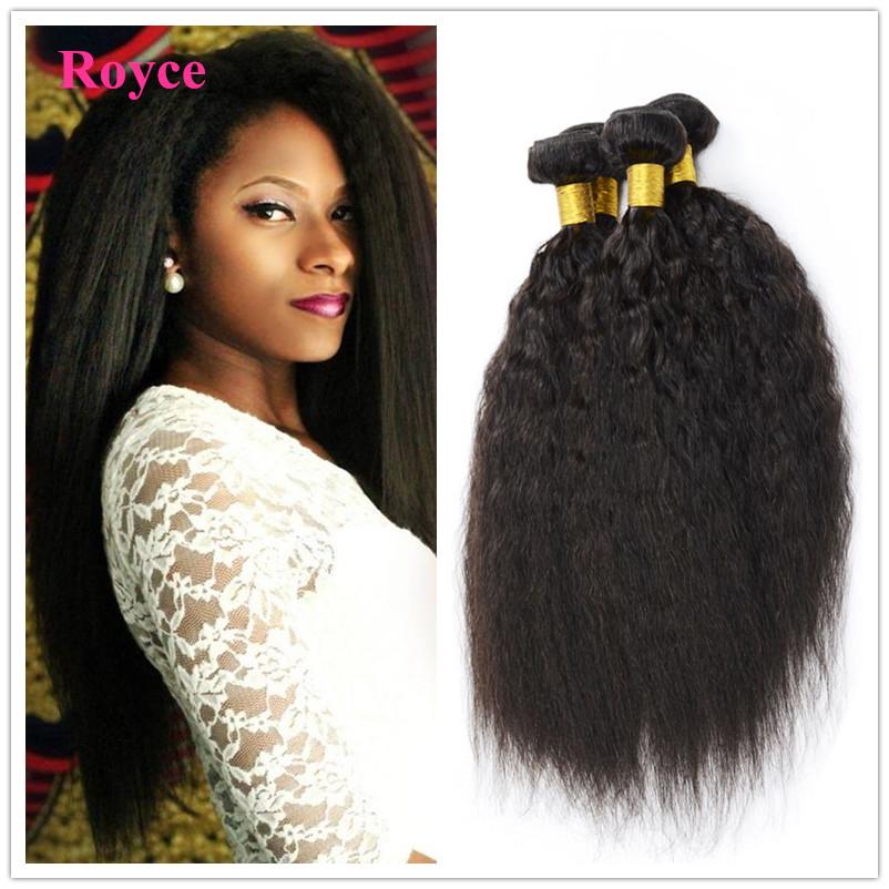 Queen King Hair Products 6A Malaysian Kinky Straight Hair Weave 3pcs Lot Coarse Yaki Virgin Hair Italian Yaki Human Hair Weave