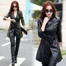 women leather jacket large sized Turn-Down Collar Patchwork genuine leather jacket Brand Com New Arrival 2016 New Jaqueta Couro(China (Mainland))