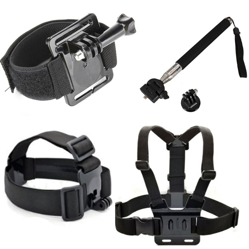 Gopro Adjustable Chest Strap Harness + Head Strap+ Wrist Mount & Screw Extendable Pole Handheld Monopod Tripod Adapter