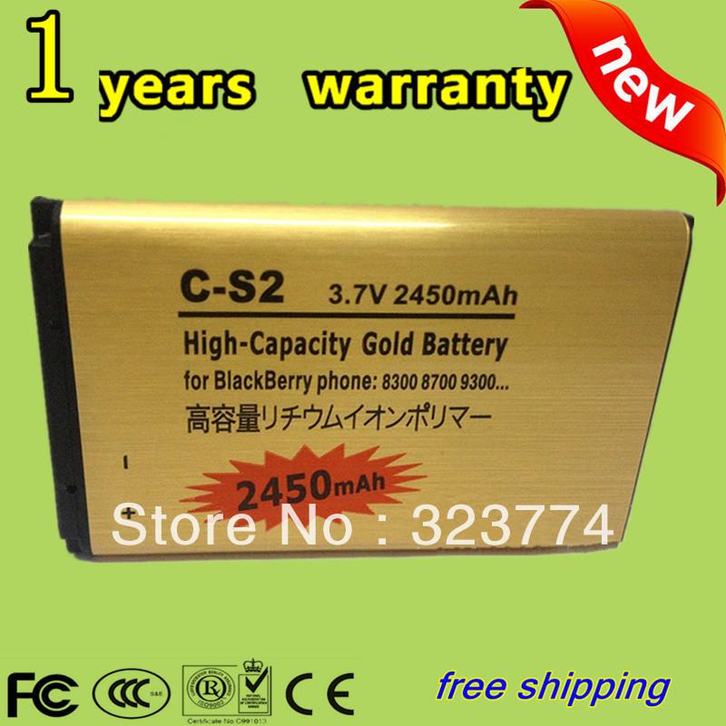 2pcs/1LOT 2450mAh High Capacity Gold Standard Battery C-S2 CS2For Blackberry Curve 8520 8300 9300 8700 8703 9330+Free shipping(China (Mainland))