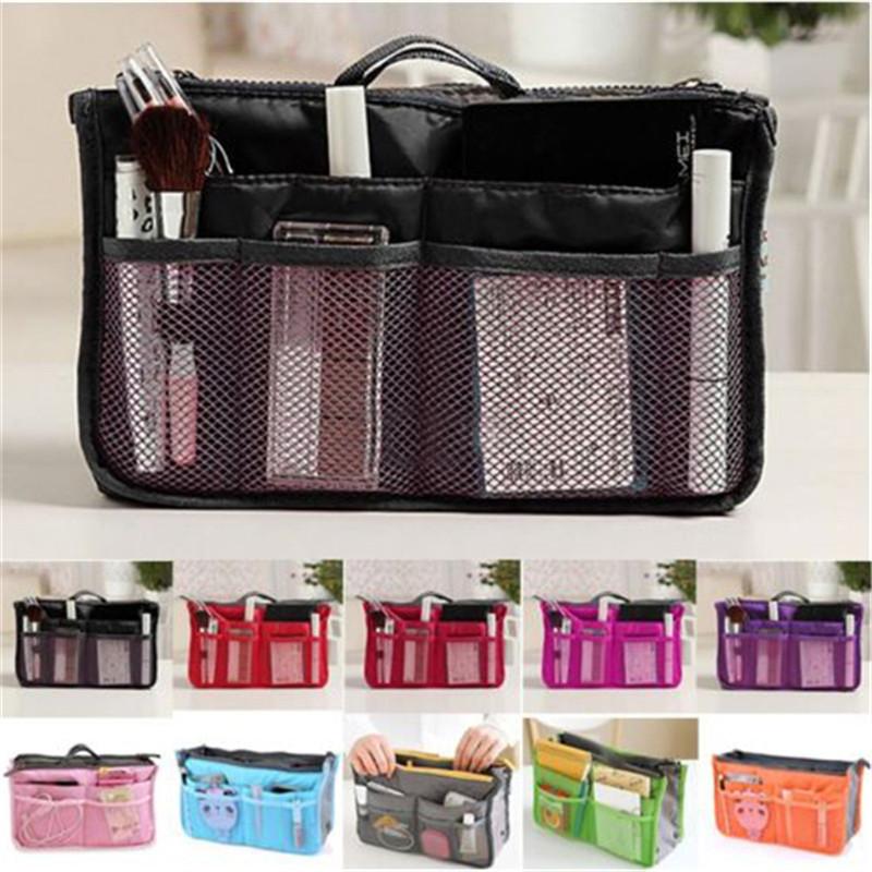 2016 Women Makeup Organizer Bag Handbag Purse Large liner Travel Insert Lady Casual Cosmetic Bag Travelling Bag Multifunction(China (Mainland))