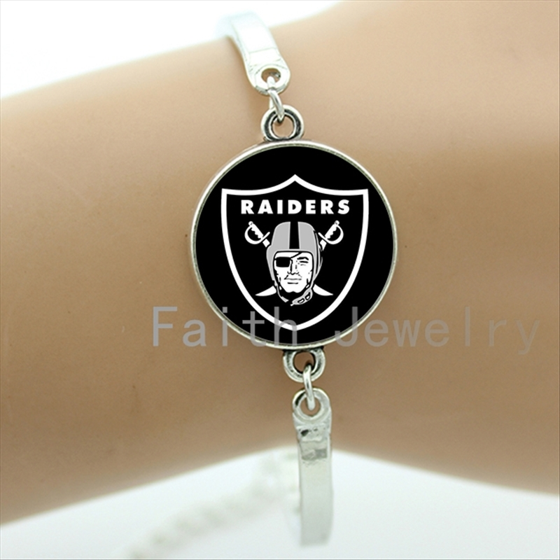 New Fashion football sport bracelets case for Oakland Raiders team logo bracelet personalized ball lovers gift men jewelry NF161(China (Mainland))