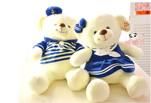 a pair of new plush navy teddy bears lovers lovely white teddy bear dolls gift about 50cm