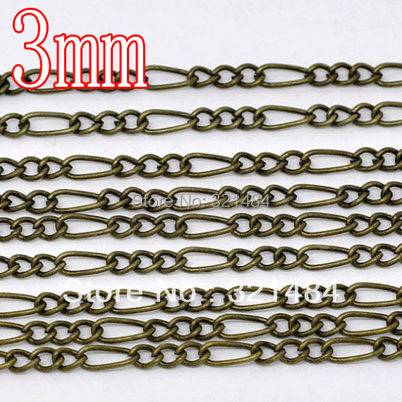 100meter/Lot Antiqur bronze/brass 3mm 4:1 Figaro Chain, Jewelry metal link necklace chain WHOLESALE<br><br>Aliexpress