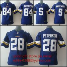 100% stitched youth Minnesota Vikings children 5 Teddy Bridgewater 28 Adrian Peterson 84 Cordarrelle Patterson Embroidery Logos(China (Mainland))