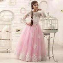 Flower girl dresses Pink Lovely Birthday Party dress Little girls line Lace Appliques Child Pageant Cheap hu - cooya store