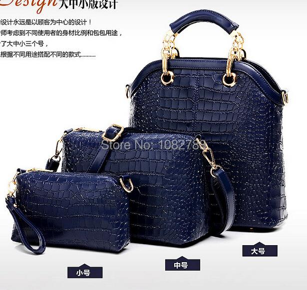 2014 new luxury fashion crocodile embossed composite package three sets of new handbag buy 1 get 3(China (Mainland))