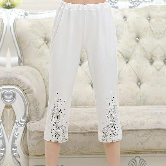 Мода женщин среднего возраста Сплошной цвет Гольфы Брюки Эластичный Пояс мать одежда ...
