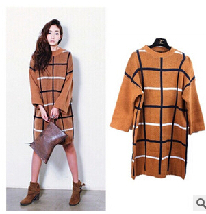 wholesale women clothes Hit color plaid long section thick pullover dress loose large size women's new autumn and winter FW225(China (Mainland))