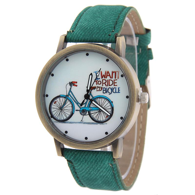 Women Watch 2016 New Fashion Cute Cartoon Bike Geniune Leather Dress Quartz Casual Wristwatch - Her jewelry box ( Min. Order $7 store)