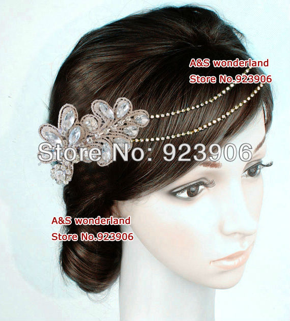 lace crystal chain women's fashion jewelry lady's hair piece hair fascinator bridal hair jewelry(China (Mainland))