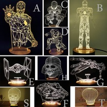 2016 Lamparas 3D Led Night Light Mood Lamp for Holiday Lamp 3D Bulbing Light USB Wood Skull Lamp Ironman Color Changing As Gift(China (Mainland))