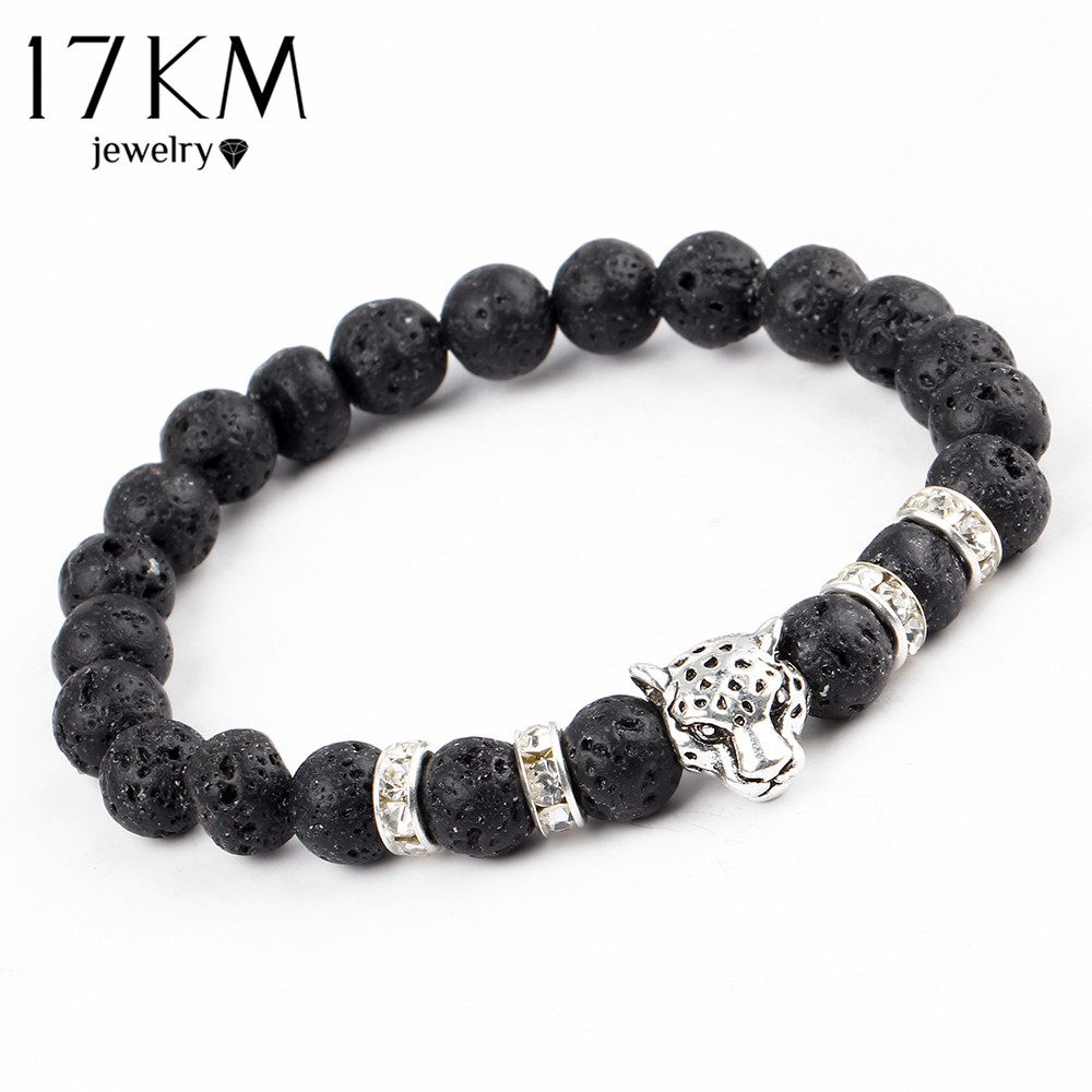 17KM 2016 Antique Crystal Gold and Silver Plated Buddha Leopard Head Bracelet Charm Yoga Bracelets For Men Women Pulseras(China (Mainland))