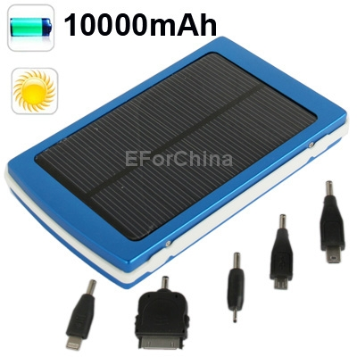 Blue 10000mAh Solar High Capacity Charger for iPhone 5 / iPad mini 4 / iPhone 4 / iPod HTC Samsung S4 S3 other Mobile Phones(China (Mainland))