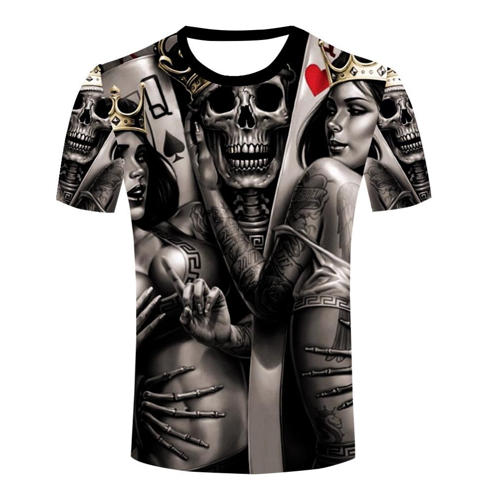 Wholesale Men The Dark Poker T Shirt Queen King Tattoo