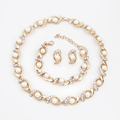 Gold Silver Plated Jewelry Sets Imitation Pearl Beads Wedding Bridal Costume Necklace Earrings Set For Women