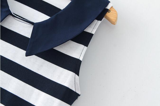новые женщины мода мини-платье леди случайных жилет без рукавов Сейлор воротник полосатом джинсы одеваются